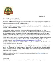 Green Bluff Cherry Pickers Trot Update